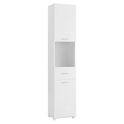 Homfa Bathroom Tall Cabinet, Linen Cabinets with Doors and Shelves, Free Standing Utility Storage Cabinet with Drawer, Space Saving Cabinet Organizer Home Storage Furniture-White