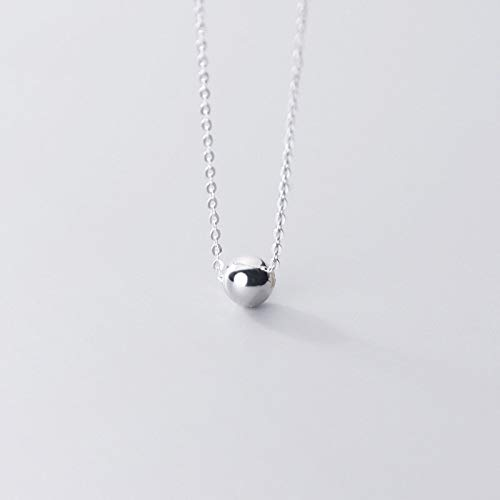BJGCWY 925 Sterling Silver 6mm Beads Ball Pendant Choker Necklaces For Women Wedding Birthday Gift