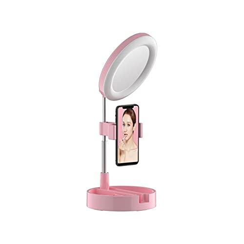 Tengan Luz LED con Soporte y Soporte para teléfono, luz de Maquillaje de Escritorio Regulable, Acción de Gracias para fotografía, Disparos con 3 Modos de luz y 10 Niveles de Brillo
