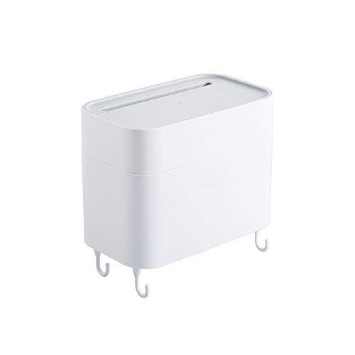 XVXFZEG Baño multifuncional de doble capa de papel de tejido simple y de moda caja de almacenamiento de bombeo Creative Box No poroso caja del tejido del estante con material de ganchos papel higiénic