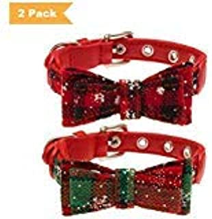 SCENEREAL Christmas Dog Collars Adjustable - Cute Bow Tie Xmas Gifts 2 Pack for Small Medium Dogs Cats