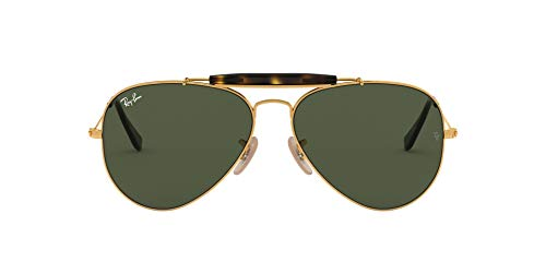 Ray-Ban RB3029 Outdoorsman II Aviator Sunglasses, Gold/Crystal Green, 62 mm