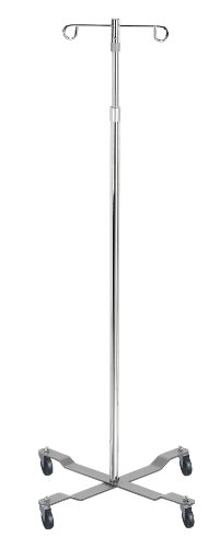 Economy I.V. Pole - 4 Leg with Removable Top and 2 Hook