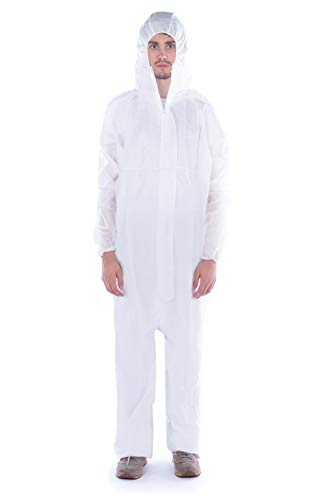 FGS SMS Protective Coverall with Hood, Zipper Front, Elastic Wrist and Ankles, Disposable (XXXL, White) (1pc/pk)