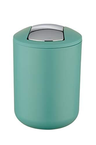Wenko Kosmetikeimer Brasil S 2 Liter, Badezimmer-Mülleimer mit Schwingdeckel, kleiner Abfalleimer aus bruchsicherem Kunststoff, Ø 14 x 21 cm, grün