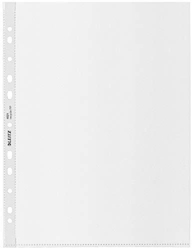 Leitz A4 Maxi Prospekthülle, 25 Stück für bis zu 80 Blatt, Universallochung, 100 Mikron Folienstärke, 100{c8c271184cc119ac361851cdc30564f2a51836b1a9e738b1113fc20649bf7ca1} recyclebar, Umweltfreundlich, Recycle-Serie, Farblos, 40210003