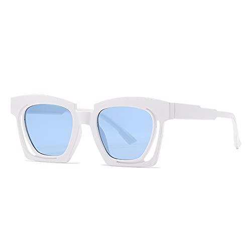 Gafas De Sol Hombre Mujeres Ciclismo Gafas De Sol Cuadradas con Degradado De Moda para Mujer, Gafas Huecas Únicas Vintage para Hombre, Gafas De Sol De Tendencia-White_Blue