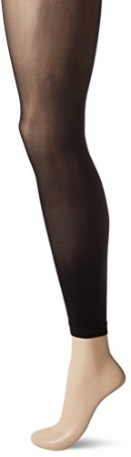 HUE Women's Flat-tering Fit Opaque Footless Tights, black, 2