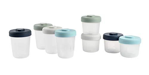 Beaba - Lote de 8 porciones para conservación con clip, apilables y apilables, 100% hermético, graduación, zona marcada, congelación, conservación de leche materna (4 x 150 ml + 4 x 250 ml)