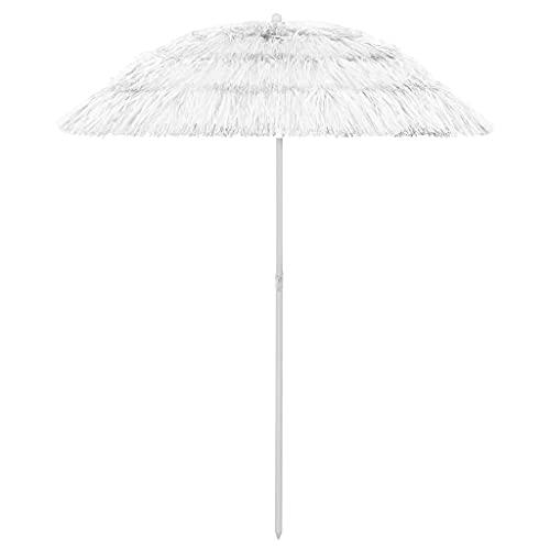 vidaXL Strandschirm Kippbar Hawaii-Stil Sonnenschirm Balkonschirm Gartenschirm Ampelschirm Marktschirm Schirm Terrassenschirm Weiß 180cm
