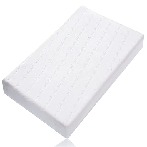 """BABELIO Memory Foam Crib Mattresses, 52"""" x 27.5"""" x 4.7"""" Standard Size, Dual-Sided Design, 100% Breathable, Toddler Mattress for Infants & Toddler Bed with Removable Mattress Cover & Waterproof Lining"""