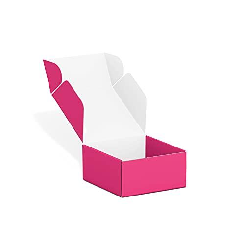 50 팩 4X4X2 인치 소형 배송 상자 골판지 배송 상자 골판지 상자 메일러 중소기업을위한 배송 상자 포장 - 톤 스피탈 (핫 핑크)