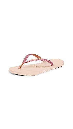 Havaianas Women's Slim Glitter Flip Flop Sandal, Ballet Rose, 9-10