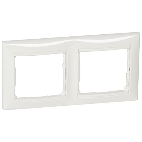 Placa marco enchufe de 2 elementos horizontal, modelo Valena, color blanco, 6 x 17 x 8,5 centímetros (referencia: Legrand 774452)