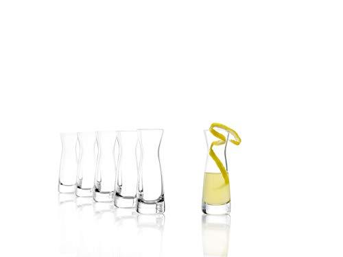 Stölzle Lausitz Karaffen, Serie Universal, Variante XS, 4 cl, 6er Set Spirituosenkaraffe, Milchkaraffe, Schnapsglas, aus feinem Kristallglas, bruchresistent und spülmaschinenfest