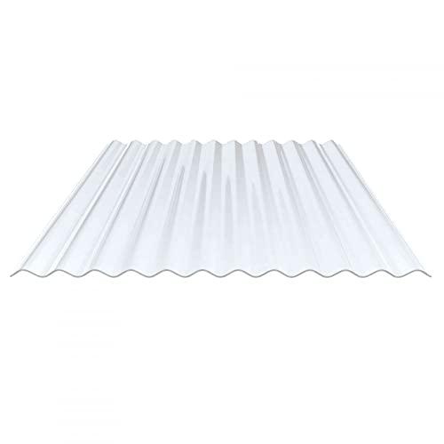 Lichtplatte   Wellplatte   Lichtwellplatte   Profil 76/18   Material PVC   Breite 1120 mm   Stärke 1,4 mm   Farbe Klarbläulich