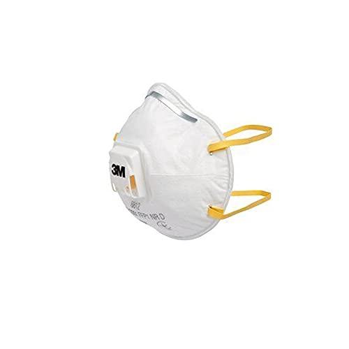 3M Respirador Desechable 8812, FFP1 NR D, con Válvula, Certificado de Seguridad EN, Paquete de 10