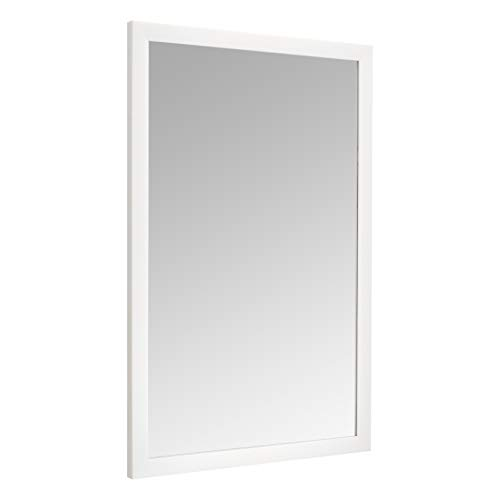 Amazon Basics Espejo para pared rectangular, 60,9 x 91,4 cm - marco estándar, blanco