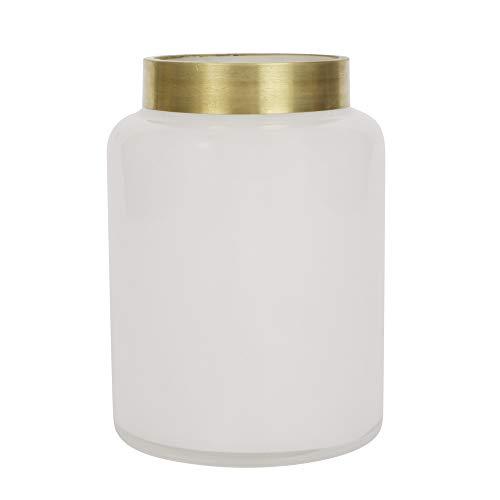 ORNAMI witte glazen vaas voor bloemen en huisdecoratie, brede mond vaas met gouden rand