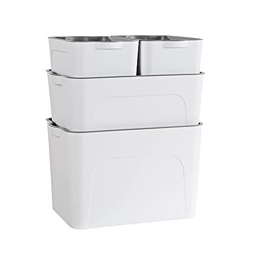 RMAN® Aufbewahrungsbox mit Deckel 4er-Set Aufbewahrung Organizer mit Griffen Kunststoff Stapelbare Storage Box Weiß Groß/Mittel/klein 25L/15L/5L