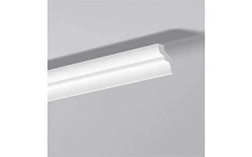 NMC Nomastyl Plus F Stuckleiste   Polystyrol   30 x 35 mm   hochwertige Deckenleiste   weiß modern   Wandleiste   einfache Montage   Styropor   leicht und stabil   Dekorativ   10 Meter   5 Leisten