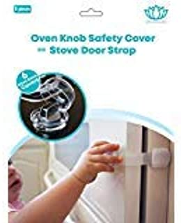 Stove Knob Covers |6 Pack| Child Safety Oven Baby Proofing Kit w/Oven Door Strap as a Bonus (6Pack Stove Knob Covers + Ove...