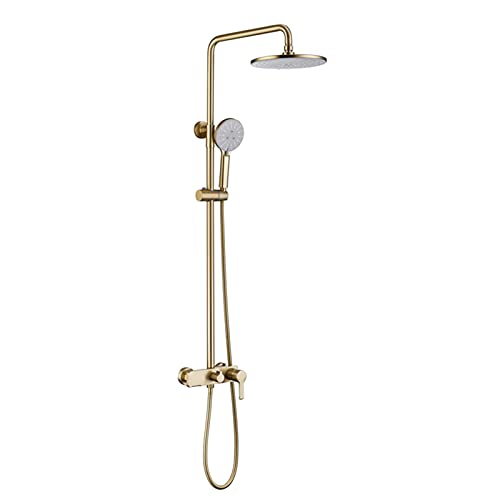 Juego de grifos de ducha, cabezal de ducha tipo lluvia de ABS de 9 pulgadas con ducha de mano de 4 vías, moderno sistema de ducha montado en la pared, grifo mezclador de ducha de baño,Brushed gold