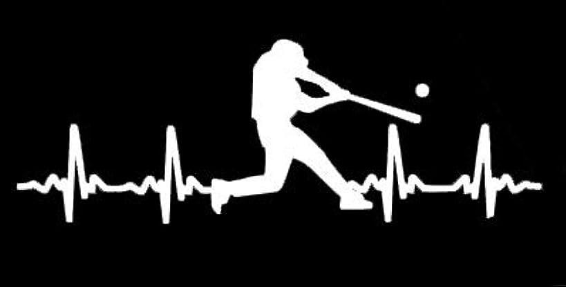 LLI Baseball Batter Heartbeat   Decal Vinyl Sticker   Cars Trucks Vans Walls Laptop   White   5.5 x 2 in   LLI1226