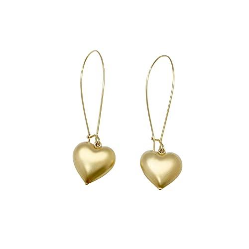 NIEVOS JEWELRY Pendientes de oro de 24 quilates chapados en oro de 24 quilates con aro largo. Abanico de corazón 6.51.5 Rare Designer Love hecho a mano para ella, joyería única hecha por mujeres