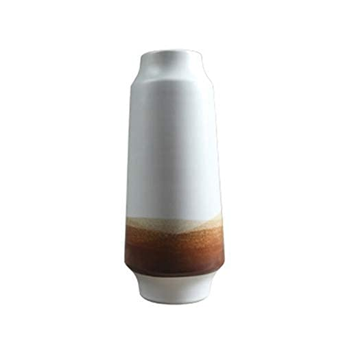PAKUES-QO Vaso di Fiori, Vaso in Ceramica Bianca Retro Sala da tè Ornamenti in Ceramica Decorazione Pentola di Terracotta Ornamenti Decorativi (Dimensioni: 14 * 34 Cm)