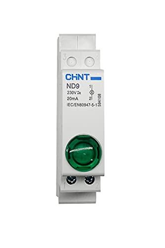CHINT Indicadores luminosos modulares serie ND9 Multiled (lámpara indicadora verde, ND9-V230, 230 VAC, cód. 594108)