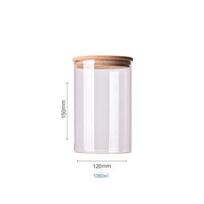 LQHZ Einmachglas Küche Lebensmittel Aufbewahrungsbehälter Küche Sonstiges Getreide Organizer Food Jar Bambus Deckel Essen Versiegelte Behälter (Color : 1360ml 12cm Diameter)