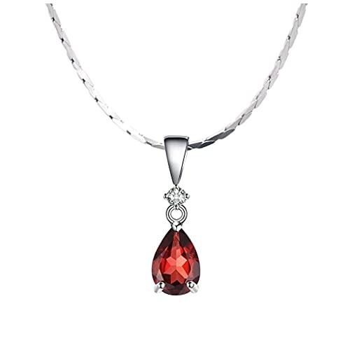 CEXTT Collares de guapos para Mujeres Chicas clásico rubí Dama Colgante Collar Granate Cadena de clavícula Moda joyería Dama Colgante Apto para el Regalo de la Esposa de la Madre.