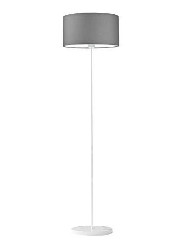 Lámpara de pie Werona, pantalla de color gris acero, marco blanco