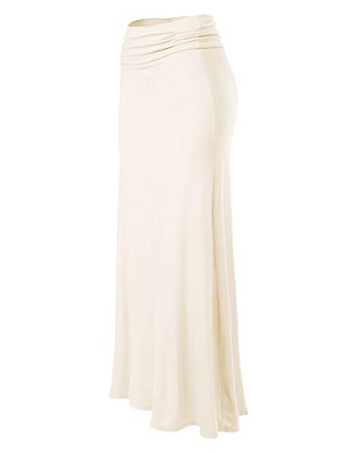 MixMatchy Women's Basic Foldable High Waist Regular and Plus Size Maxi Skirts Ivory 2XL