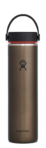 Hydro Flask 24 oz. Lightweight Trail Series Water Bottle- Stainless Steel, Reusbale, Vacuum Insulated with Standard Mouth , Obsidian