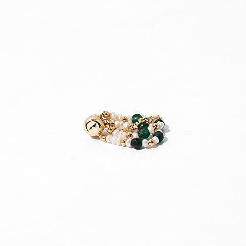 SALAN Pendientes Magnéticos De Latón Chapados En Oro Minimalista Pendiente De Perlas Naturales Sin Perforación Elegante Diseño Retro Pequeño Imán Clip De Pendiente De Cristal Verde Joyería
