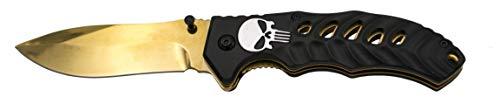 Punisher Messer schwarz Gold - Klappmesser 21cm Skull - Taschenmesser - Messer extra scharf - Jagdmesser - Einhandmesser - Hunting Knife