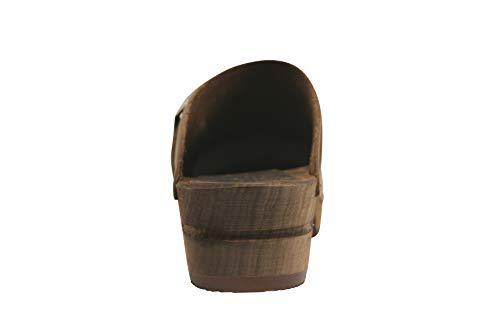 Sanita Urban | Zuecos Abiertos | Producto Artesanal Original para Mujer | Zuecos de Piel con Suela de Madera | Marrón Oscuro | 38 EU