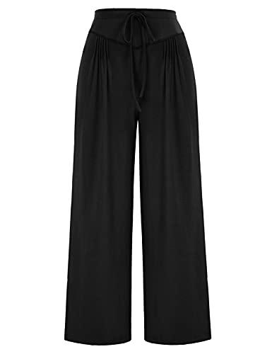 GRACE KARIN Pantaloni a Zampa Donna a Vita Alta a Tinta Unita Pantalone Donna Elegante Nero L