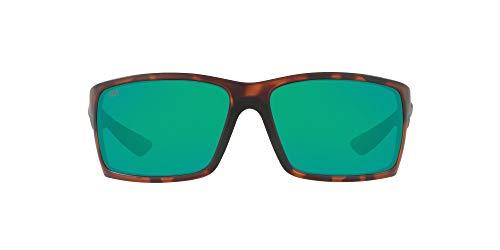 Costa Del Mar Men's Reefton Polarized Rectangular Sunglasses, Matte Retro Tort/Green Mirrored Polarized-580P, 64 mm