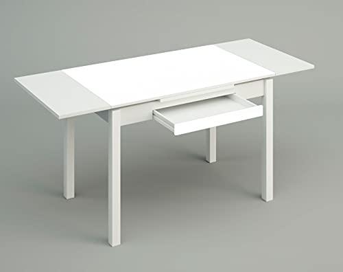 ASTIMESA Mesa de Cocina, Metal, Blanco, 100x60cm-extendida 150x60 cms