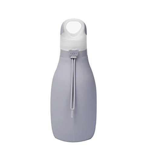 LMG Botella 17 oz Botella de Agua de Gran Capacidad, Taza de Agua de Deportes de Silicona de Grado alimenticio, Bolsa de Agua Plegable portátil para Correr al Aire Libre (Color : Gris)