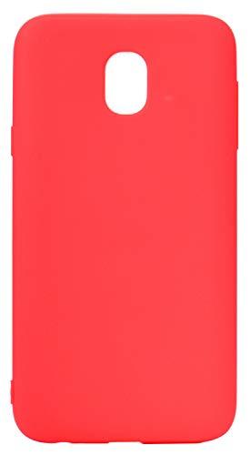 LUSHENG Funda de Silicona para Samsung Galaxy J7 (2017), Samsung Galaxy J7 (2017) Funda de TPU Suave a Prueba de Golpes, Todo El Cuerpo Absorbe Los Golpes [Resistente a Las Huellas Dactilares] - Rojo