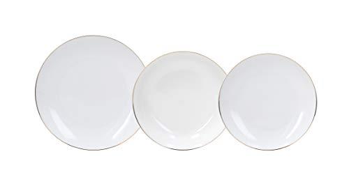 Tognana Oro Vajilla de 18 piezas con abrazadera, porcelana