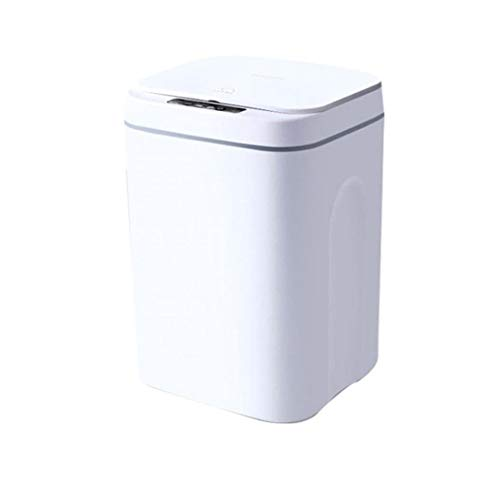 16L Bote de Basura Sensor Inteligente sin Contacto eléctrico Cubo de la Basura Bin Mute automático con Cobertura Oficina, baño y Cocina Recargable Blanca