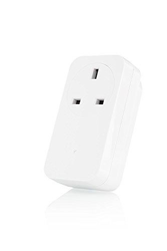 Trust Smart Home AC-3000-stekkerschakelaar voor draadloos schakelen van lampen, 3000 W, UK-stekker bus Dimmer wit
