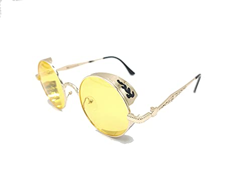 XFentech Steampunk Gafas de Sol - Polarizadas Retro Gafas Redondas Gafas de Sol UV400 Protección Eyewear para Hombres y Mujeres, A2 Marco Dorado - Lentes Amarillo