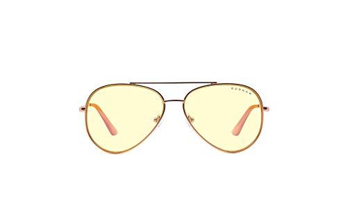 GUNNAR Gafas de juego y computadora   Maverick, oro rosa, ámbar   Gafas de bloqueo de luz azul   Lente patentada, 65% protección de luz azul, 100% de luz UV, reduce la tensión ocular y la sequedad