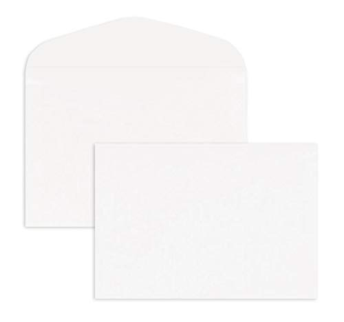 100 weiße Umschläge, DIN B6, ohne Fenster, Geschwungene Klappe, Nasskleber, 125 x 175 mm, 90g Offset-Umschläge für Einladungen Grußkarten zum Geburtstag